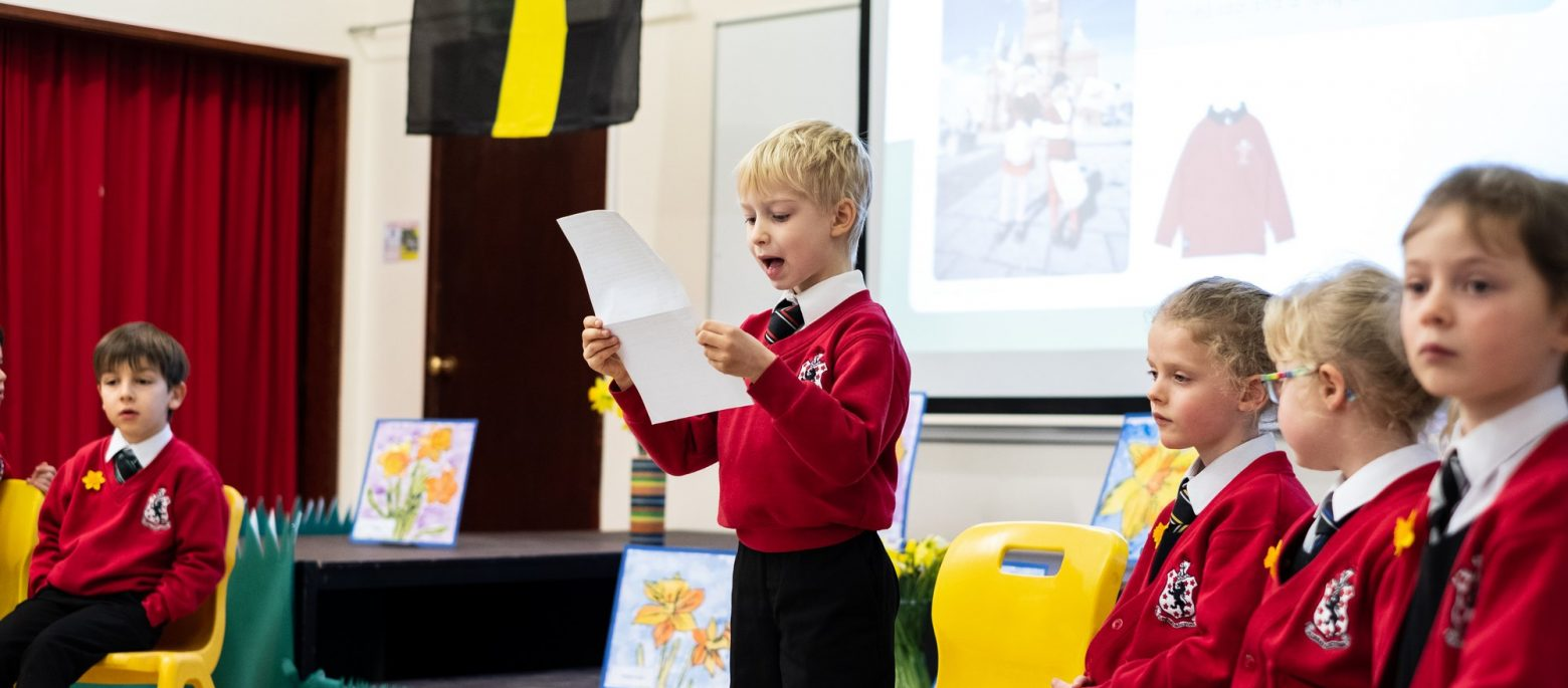 Lucton School children in assembly