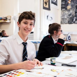 Lucton School students in art class