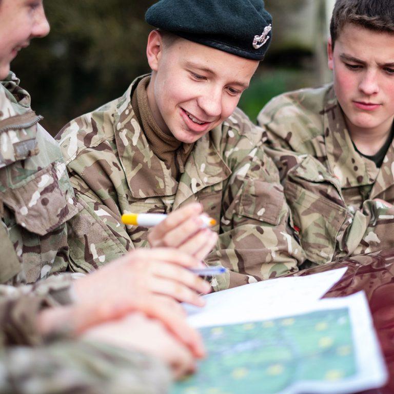 school boys cadets military uniform camouflage beret