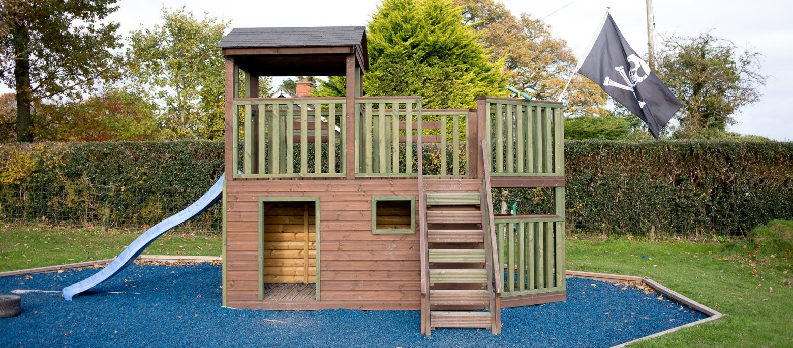A play area in the outdoor area at Lucton School