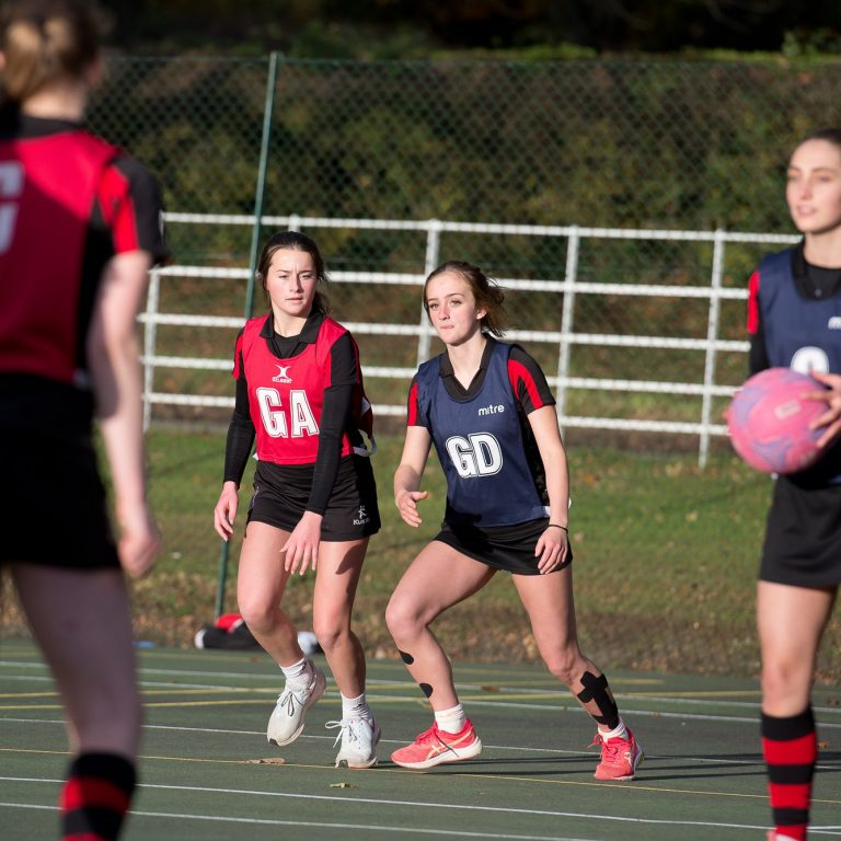 girls playing netball at Lucton School