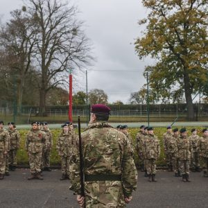 Cadets in marching position ready for direction