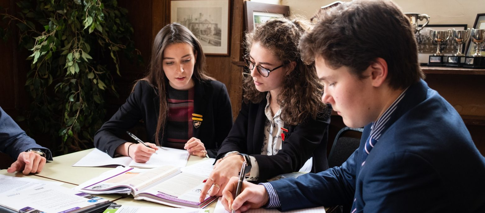 Lucton School students studying