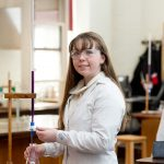 science experiment by school girl at Lucton School